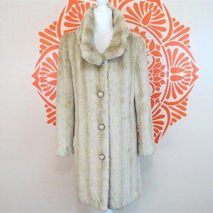 Vtg 80's Long Cream Faux Fur Coat 8